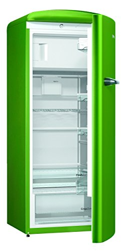 Gorenje ORB 153 GR Kühlschrank mit Gefrierfach / A+++ / Höhe 154 cm / Kühlen: 229 L / Gefrieren: 25 L / lime green / DynamicCooling-System / LED Beleuchtung / Oldtimer / Retro Collection