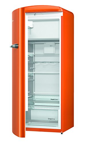 Gorenje ORB 153 O-L Kühlschrank mit Gefrierfach / A+++ / Höhe 154 cm / Kühlen: 229 L / Gefrieren: 25 L / juicy orange / DynamicCooling-System / LED Beleuchtung / Oldtimer / Retro Collection