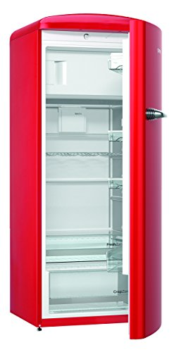 Gorenje ORB 153 RD Kühlschrank mit Gefrierfach / A+++ / Höhe 154 cm / Kühlen: 229 L / Gefrieren: 25 L / fire red / DynamicCooling-System / LED Beleuchtung / Oldtimer / Retro Collection
