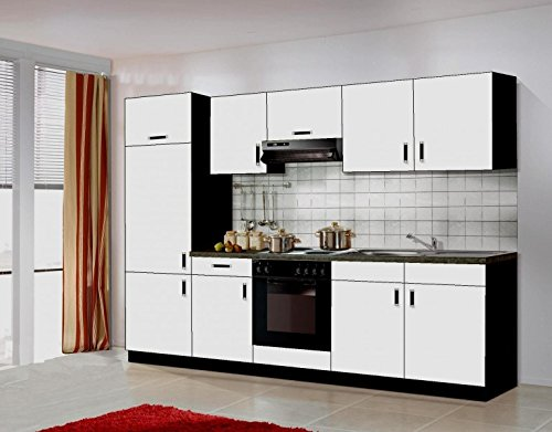 k che blacky 270cm k chenzeile k chenblock variabel stellbar in weiss schwarz einbauk. Black Bedroom Furniture Sets. Home Design Ideas