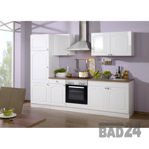 k chenzeile mit elektroger ten 270 braga komplett inkl e ger te hochglanz wei wei m bel24. Black Bedroom Furniture Sets. Home Design Ideas