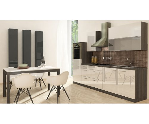 respekta k chenzeile mit e ger ten premium breite 280 cm ohne aufbauservice eiche grau wei. Black Bedroom Furniture Sets. Home Design Ideas