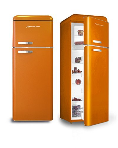 retro k hlschrank orange glanz a k hl gefrierkombi schaub lorenz einbauk. Black Bedroom Furniture Sets. Home Design Ideas
