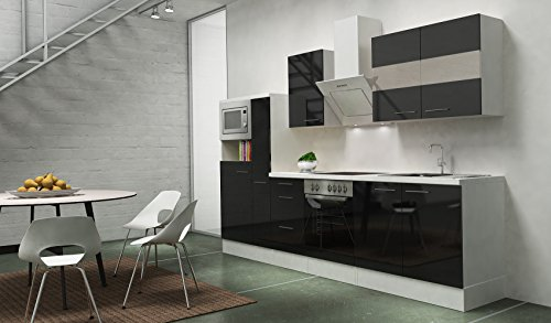 respekta premium einbau k che k chenzeile 300cm schwarz hochglanz apothekerschrank ceran. Black Bedroom Furniture Sets. Home Design Ideas