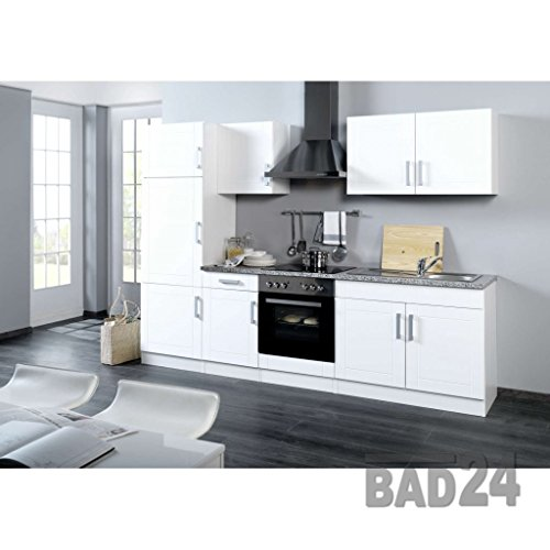 k chenleerzeile 270 vario ohne e ger te hochglanz weiss weiss einbauk. Black Bedroom Furniture Sets. Home Design Ideas