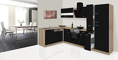 respekta economy l form winkel k che k chenzeile eiche s gerau schwarz 310x172cm inkl ceran. Black Bedroom Furniture Sets. Home Design Ideas